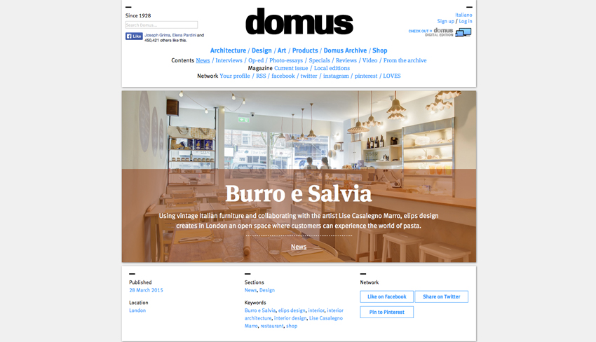 Burro e Salvia featured on Domus