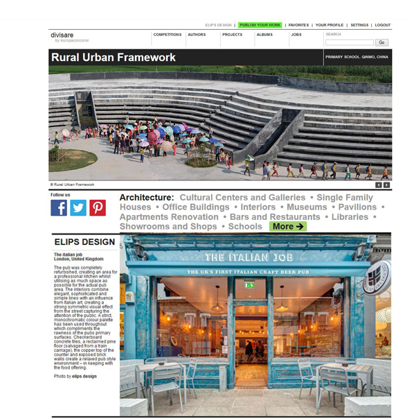 The Italian Job in the homepage of Divisare