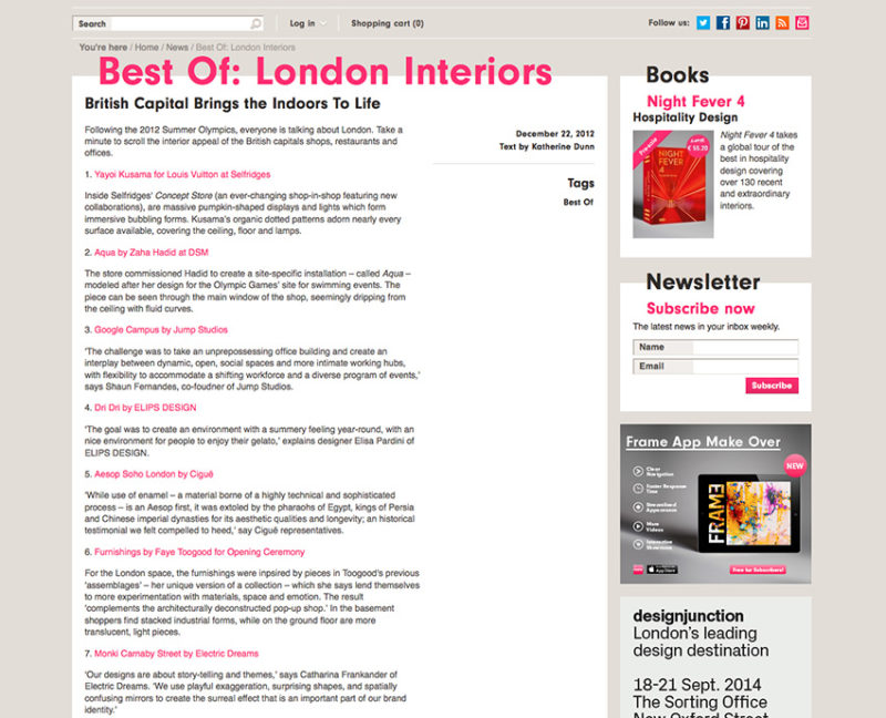 Dri Dri featured in Frame as one of Best Interiors in London