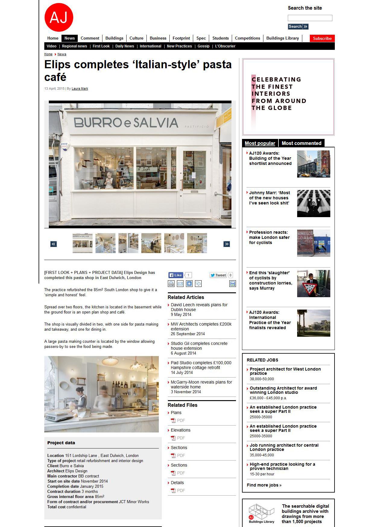 Burro e Salvia on Architects' Journal