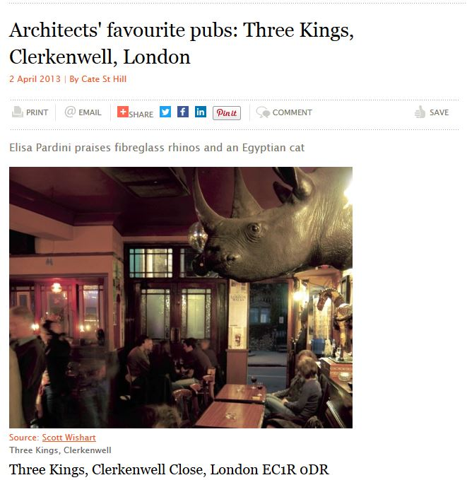 Architects' favourite pubs: Three Kings, Clerkenwell, London